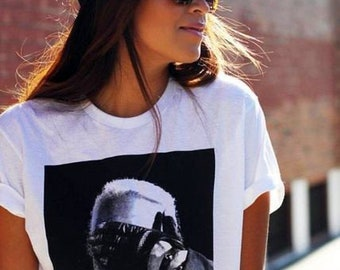 "Casual White Women's T-shirt ""Karl Lagerfield """