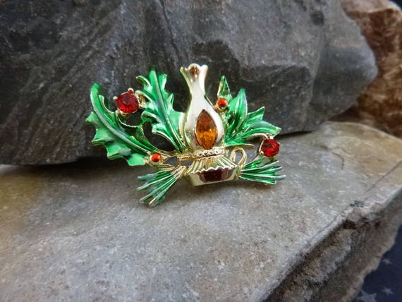 Holiday Lamp Vintage BJ Brooch | Christmas Lantern Pin with Holly Greens and Rhinestones
