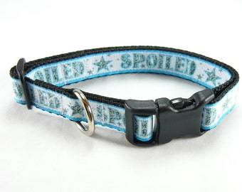 "Blue Spoiled Dog Collar (1/2"" width & 3/4"" width) -Extra Small - Small - Medium"