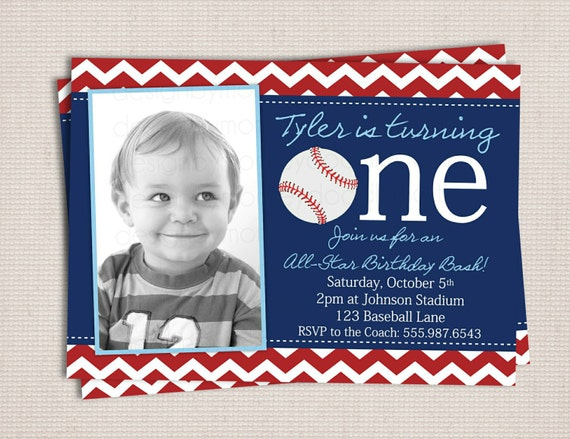 First Birthday Baseball Party Printable Invitation