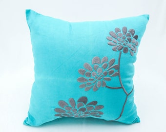 Teal  Throw Pillow, Decorative Pillows, Embroidery, Floral Pillow, Linen pillow cover, couch pillows, Peony Flower, Throw pillows