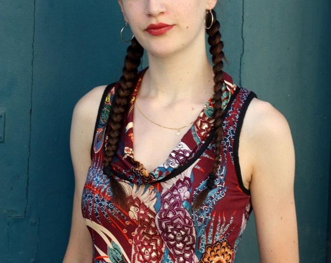 Featured listing image: T-Shirt tank top women Burgundy flower motifs etOiseaux parakeets Top sleeveless Cotton Jersey. Size 38