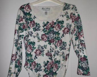 Vintage 90s Long Sleeve Floral Scoop Neck Body Suit Juniors large