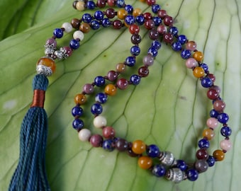Mala beads: dainty 5/6mm Australian Mookaite & Lapis Lazuli hand-knotted mala beads. Yoga japa meditation or tassel necklace. Bag made by me