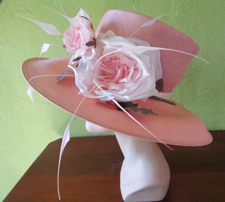Philip Treacy London Pink Straw Hat Exquisite Silk Flower