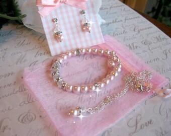 Custom Flower Girl Jewelry Pearl Crystal and Swarovski Rhinestone Necklace-Girls Pearl Jewelry Set/Wedding Jewelry/Junior Bridesmaid Jewelry
