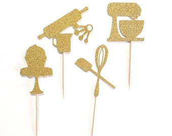 12 pc baking theme gold glitter cupcake topper little baker for birthday pretend play cook theme