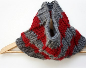 Ready to Ship: Unisex Crochet Cowl in Charcoal Grey and Red Stripes Mens Womans Teen Winter Christmas gift