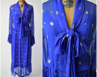 60s / 70s Jean Patou Royal Blue & Gold Dot Ethereal Chiffon Dress // Chic Summer Style // Designer Vintage