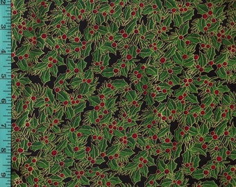 Holiday Hollies Metallic, Fabric Quilting Crafting Home Decor
