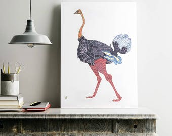 Ostrich Print Giclee Print Ostrich Art Ostrich Wall Art Ostrich Decor Ostrich Art Print Ostrich Home Decor Animal Art Print