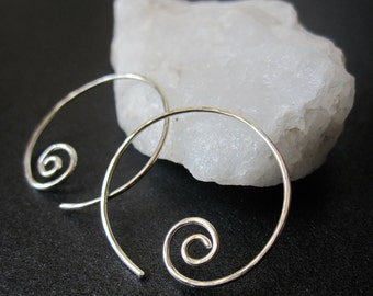 SMALL SWIRL HOOPS Hammered Interchangeable Earrings for charms Sterling Silver, Gold Filled, Rose Gold Free Drops