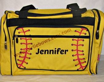 """Personalized 20"""" Duffle Duffel Gym Dance Gymnastics Overnight Bag Softball Yellow Red Black Trim MONOGRAMMED FREE - By Girliebows"""