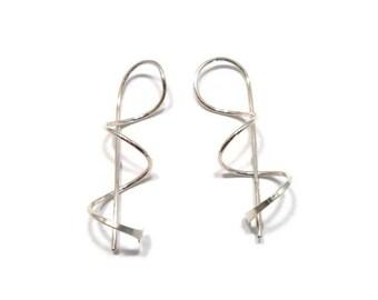 Contemporary Jewelry Sterling Silver Earrings Twisted Dangle Corkscrew Earrings