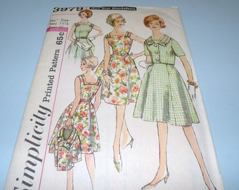 1950s Simplicity 3979 Waist Waist Dress and Jacket size 14 1/2 UNCUT with Instructions