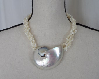 Nautilus Shell Pendant Necklace, Vintage White Iridescent Shell & Stone Chip Rope, Vintage Runway Statement Piece
