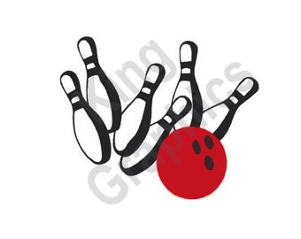 Bowling Ball & Pins - Machine Embroidery Design, Bowling, Bowling Ball, Bowling Pins