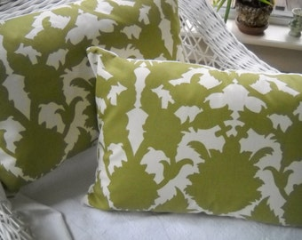 Pair of lumbar pillow covers... designer fabric artichokes kiwi green and white