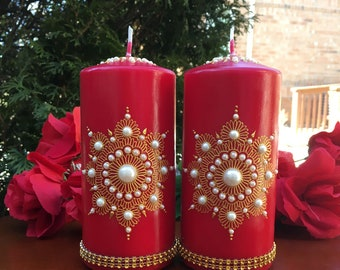 Decorative Candles, Unscented Candles, Pillar Candles, Home decor, Boho Decor, Unique Gifts, Candle Gift Set, Gold/Red Set, Set of 2 candles