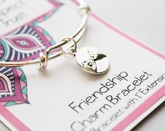 Bangle Charm Bracelet - Pinky Swear Friendship Bracelet - Girlfriends Bracelet - Best Friends Bracelet