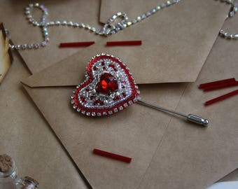Red Heart, Unique Handmade Embroidery Beads Brooch
