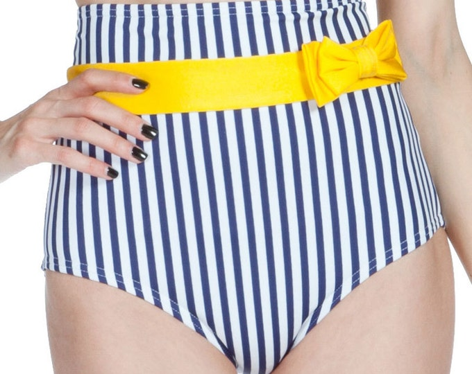 Frannie Super High Waisted White and Navy Striped Bikini Bottom with Bow XS ONLY