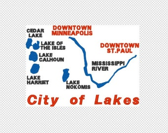 Minneapolis City Lakes Machine Embroidery Design 2 sizes