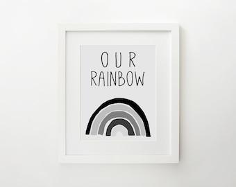 Digital Art Print, Digital Nursery Art Print, Rainbow Baby, Rainbow Baby Art Print, Baby Shower Gift, Rainbow Baby Gift, Monochrome Rainbow