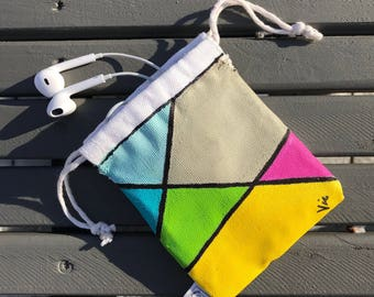 """Mini Pouch - Handmade and acrylic hand painted 