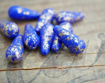 Czech Glass Teardrop Bead Royal Blue with Gold Flecks Gold Decoration  20mm (6)