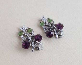 Vintage purple green rhinestone clip on earrings