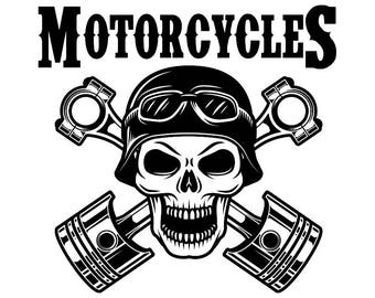 Mechanic Logo #35 Skull Piston Crossed Engine Auto Car Part Biker Motorcycle Repair Service Shop Garage .SVG .EPS .PNG Vector Cut Cutting