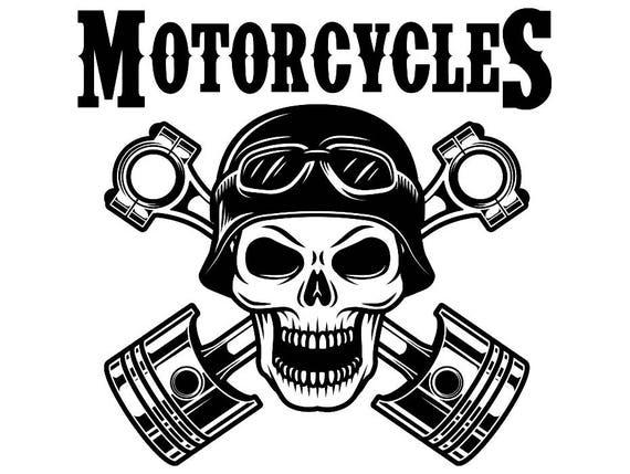 Mechanic Logo 35 Skull Piston Crossed Engine Auto Car Part