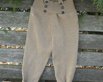 Upcycled wool baby overalls
