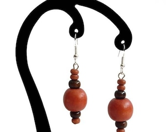 Orange and dark brown wood earrings