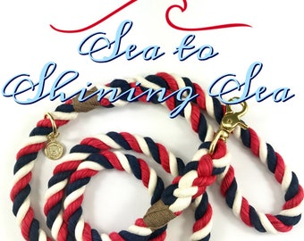 Sea To Shining Sea Rope Dog Leash - Red White & Blue Traditional leash,  Cotton Dog Leash, Rope Dog Lead