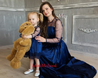 Navy Mommy and Me Matching Dresses Mother Daughter Matching Dress Matching Outfits Lace Maxi dress Girls Birthday dress Mommy and Me Outfits