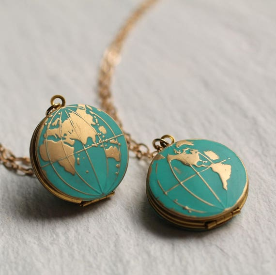 World map locket personalised globe necklace planet earth gumiabroncs Gallery