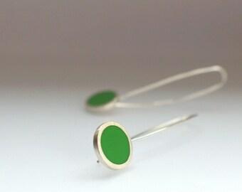 Leaf Green Earrings - Modern Minimalist Earrings - Long Drop Earrings - Resin Jewellery - Birthday Gift - Pop Long Drop Earrings