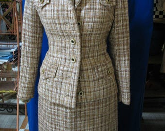 Vintage tweed skirt suit