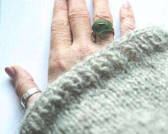 Brass and Deep Green Seaglass Ring, Size M (UK), 6.5 (US), handmade, beach treasures, mermaid jewels, hippie, boho, gypsy