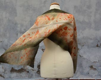 Scarf in dark green and orange, merino wool, hand dyed, eco-print, handmade from the FILZHAUS16