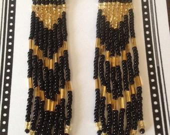 Black/Gold Seed Bead Long Earrings