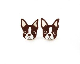 Red Brown Boston Terrier Earrings, Boston Terrier Jewelry, Boston Terrier Jewellery, Dog Earrings, Dog Jewelry, Shrink Plastic