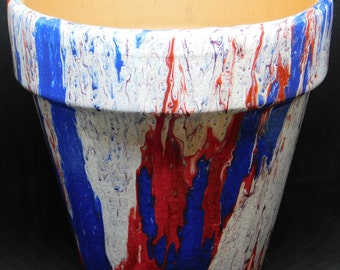 Painted terra cotta planter - Red, White, and Blue