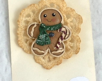 Antique Style Gingerbread Man Green Scarf Candy Cane Brooch/Pin, New, Gift