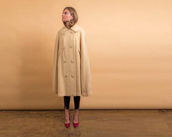 60s Wool Mod Cape / Cape Coat / Wool Coat / Vintage 60s Coat Δ fits sizes: XS/S/M/L