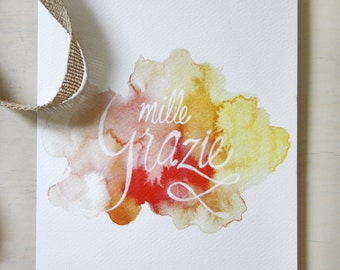 """Greeting Card """"mille grazie"""", lettering card, watercolour greetin card, Italian greeting card, thank you card"""