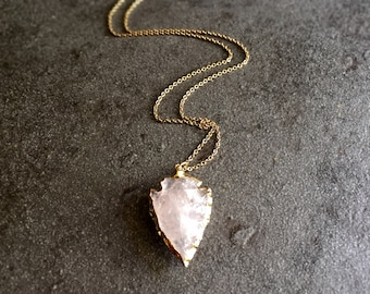 Arrowhead Necklace,Raw Stone Necklace,Rose Quartz Arrowhead Necklace,Crystal Arrowhead Gold,Boho Necklace,Layering,Pink Gold,Rose Gold