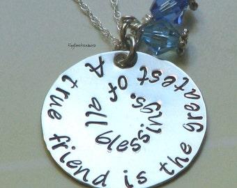 True Friend Sterling Silver Hand Stamped Necklace
